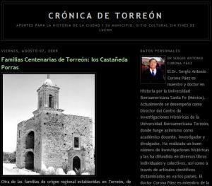 "Portada del blog ""Crónica de Torreón"""