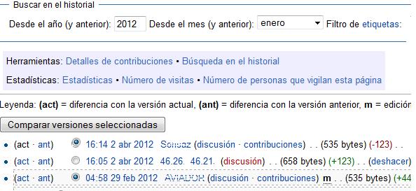 El historial de las ediciones consecutivas en Wikipedia