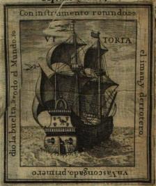 """Estampa en la portada del """"Arte de navegar"""", de Lázaro de Flores, 1673"""